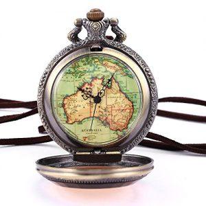 AMPM24-Australien-Karte-Taschenuhr-Analog-Quarz-Uhr-Bronze-Ketteuhr-Unisex-AMPM24-Geschenkbox-WPK131-0