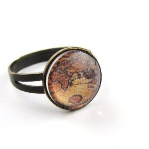 Landkarte-Cabochon-Ring-Vintage-Damenring-bronze-farben-0