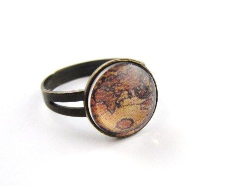 Landkarte cabochon ring vintage damenring bronze for Vintage farben mobel