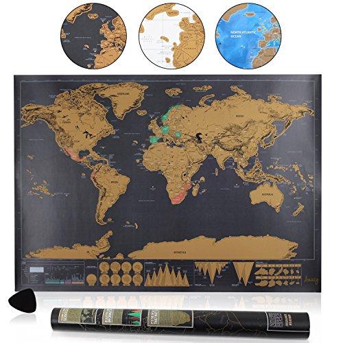 Amazy-Weltkarte-zum-Rubbeln-XXL-Schne-Erinnerung-an-bisherige-Reisen-fr-jeden-Globetrotter-Schwarz-82-x-60-cm-0