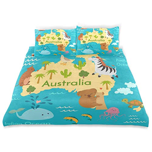 SUNOP-Biber-Bettwsche-Set-fr-Doppelbett-100-gebrstete-Baumwolle-Bettbezug-und-2-Kissenbezge-Motiv-Karte-von-Australien-0