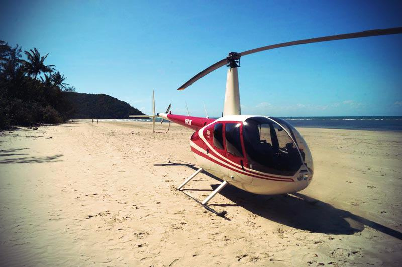 Helikopter auf dem Thornton Beach