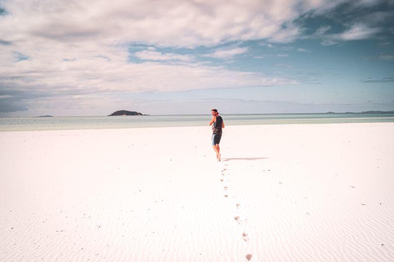 weißer Sand am Strand Whitehaven Beach