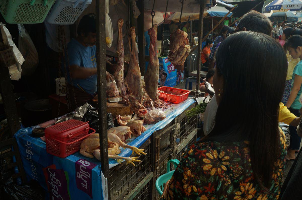 Yangon Markt frisches Fleisch