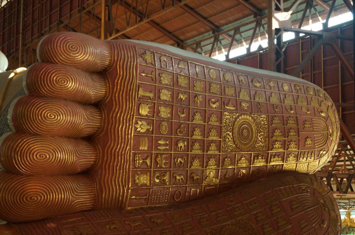 Yangon liegender Buddha Statue Fuss