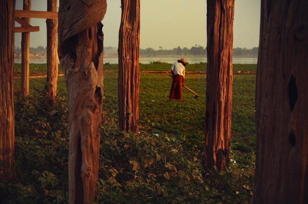 Farmer unter der U-Bein Brücke in Amarapura