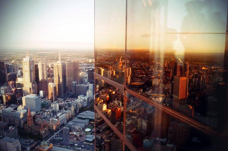 Blick vom Eureka Skytower 88 auf Melbourne