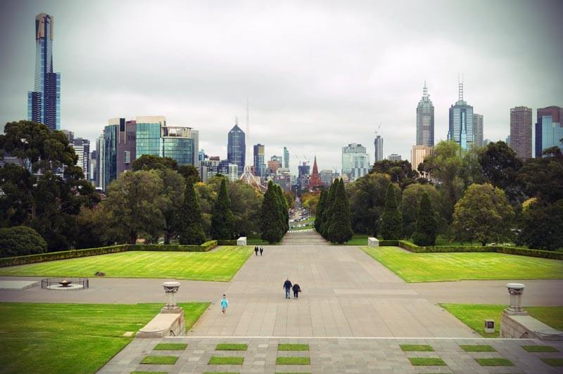 Melbourne Skyline vom Shrine of Remembrance