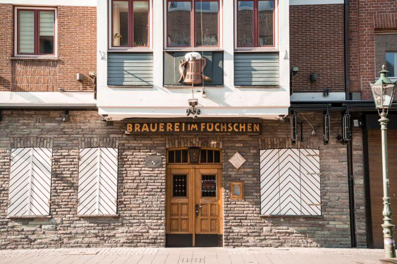 entrance to the brewery at Füchschen in Dusseldorfs oldtown
