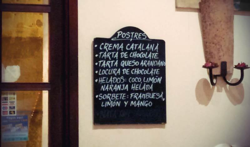 Crema Catalana auf der Speisekarte in Palma