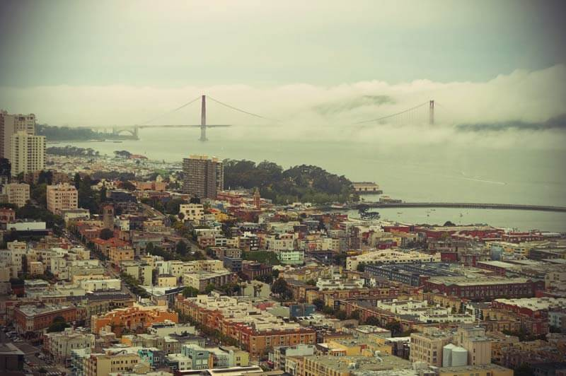 Kalifornien Roadtrip: San Francisco Blick auf Golden Gate Bridge vom Coit Tower