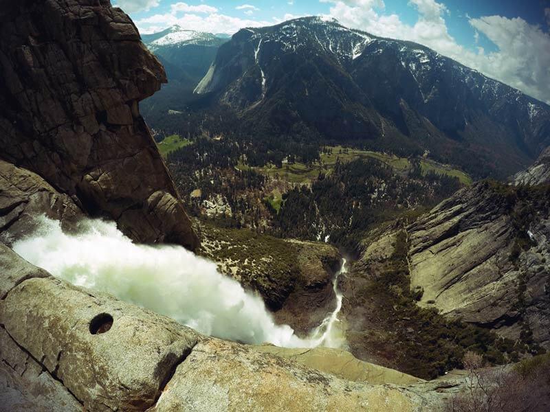 Kalifornien Roadtrip Yosemite falls von oben
