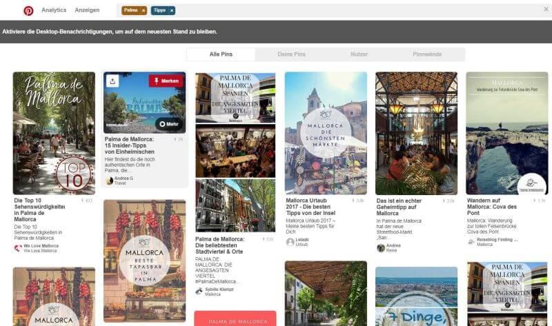 Pinterest Suche Screenshot