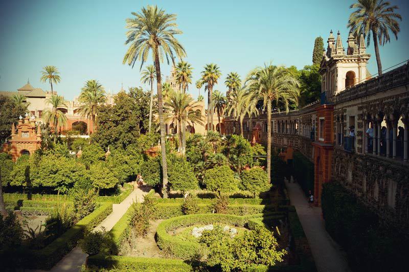 Die Gärten vom Real Alcazar in Sevilla