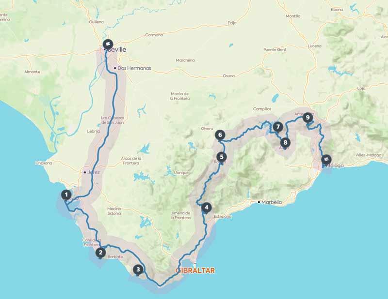 Andalusien Roadtrip Route für eine Woche