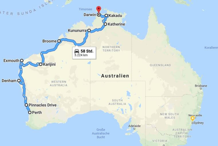 Roadtrip von Perth nach Darwin Karte