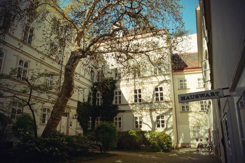 Innenhof mit Baum in der Altstadt Wiens