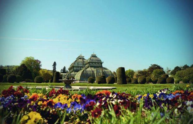 The Palm House in the Schoenbrunn Palace Park in Vienna from outside
