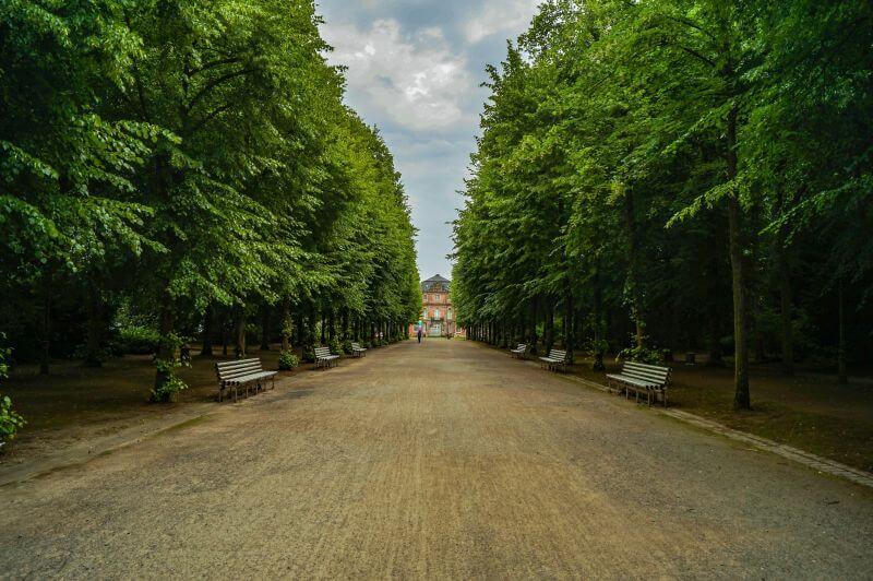 pathway along the Hofgarten in Duesseldorf