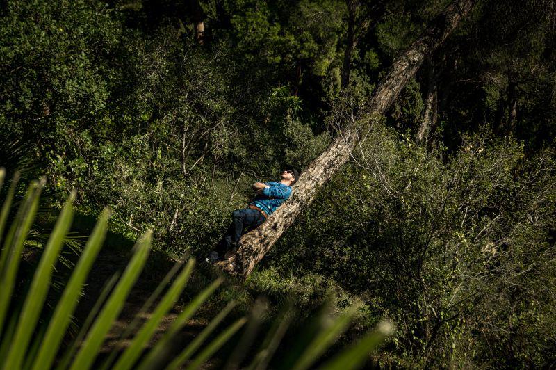 Málaga Tipps Mann chillt im botsnischen Garten
