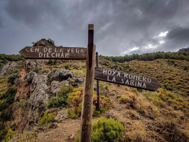 Schild am Rundgang Monachil Los Cahorros