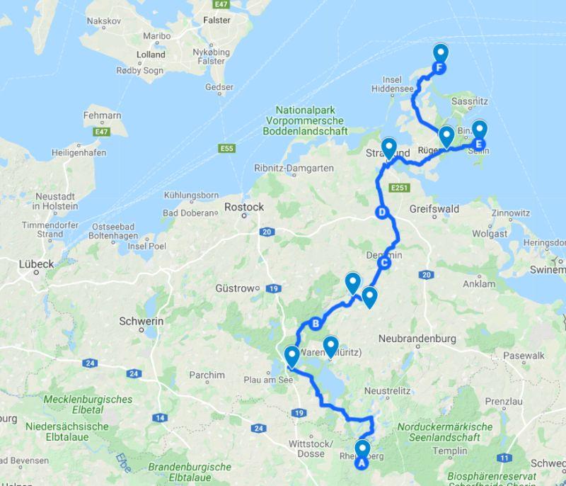 Route Deutsche Alleenstraße von Rheinsberg bis Rügen