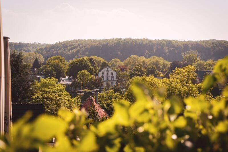 Düsseldorf Ausflugsziele: Der Blick von der Kirche in Kettwig auf die andere Seite der Ruhr